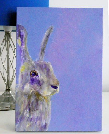 wild hare painting, purple animal artwork on box canvas, British wildlife painting, purple home decor