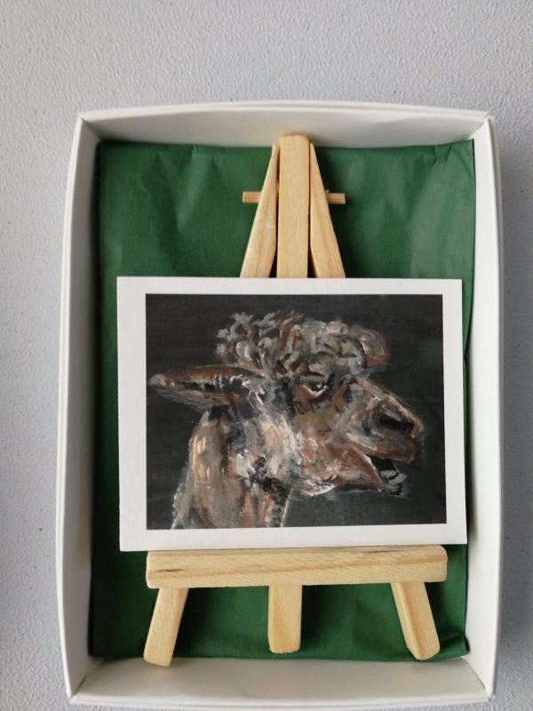 brown alpaca aceo print, miniarure alpaca art, llama gift, toothy alpaca