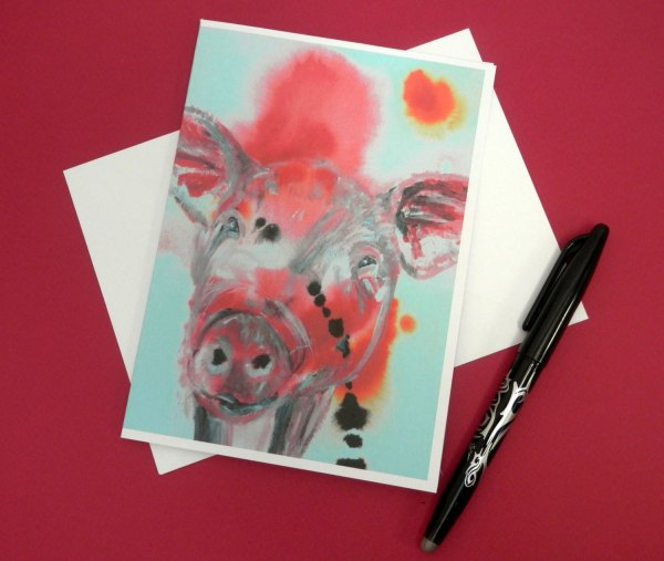 red pig card, blank farm animal card, piglet note card