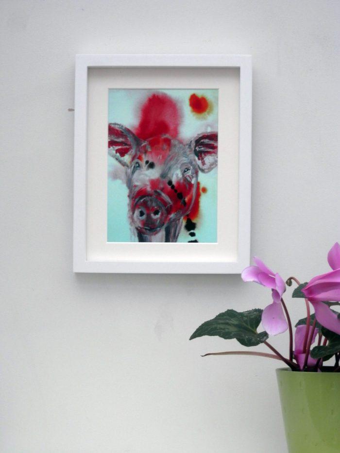Red pig Giclee print, farmyard art, farm animal wall decor