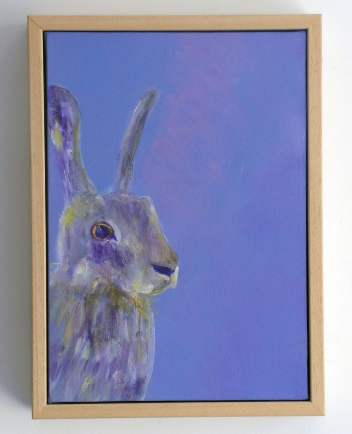 Purple hare painting with frame