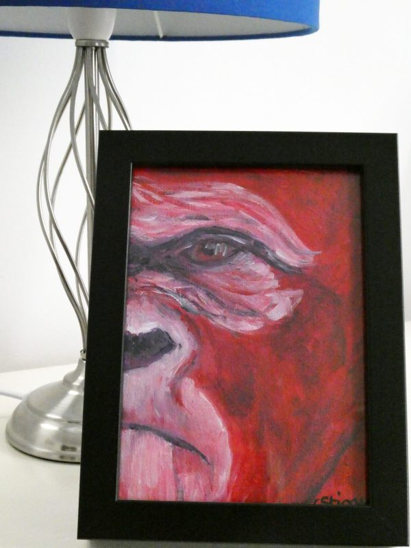 red gorilla painting, red gorilla art, red ape painting, wildlife art, framed wildlife wall decor