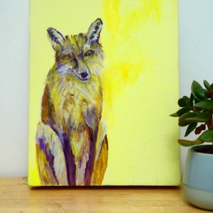Yellow fox acrylic art