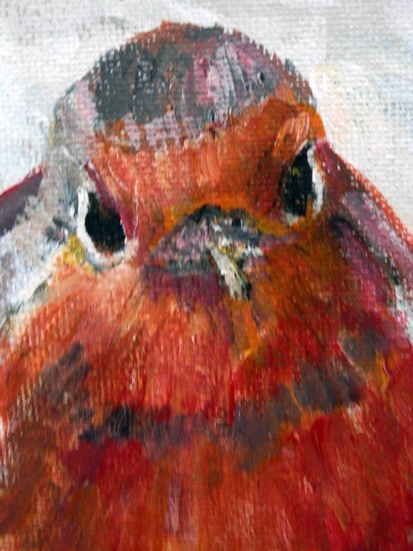 Red robin art, Christmas wall decor, red robin acrylic painting, winter art