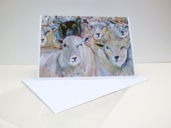 Flock of sheep card, black sheep, counting sheep blank card