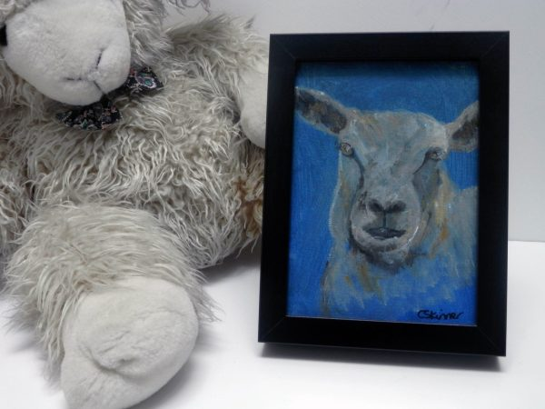sheep art, blue sheep canvas painting, farm animal art