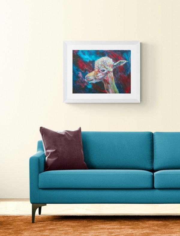 Colourful alpaca art painting