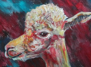 smiling alpaca painting, red alpaca art, teal artwork, llama gift