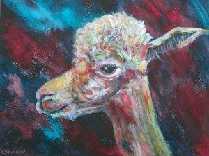 Cute teal and red alpaca print
