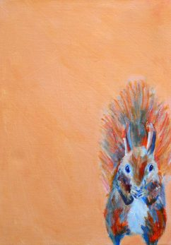 red squirrel art, orange wall decor, box canvas painting, British wildlife art