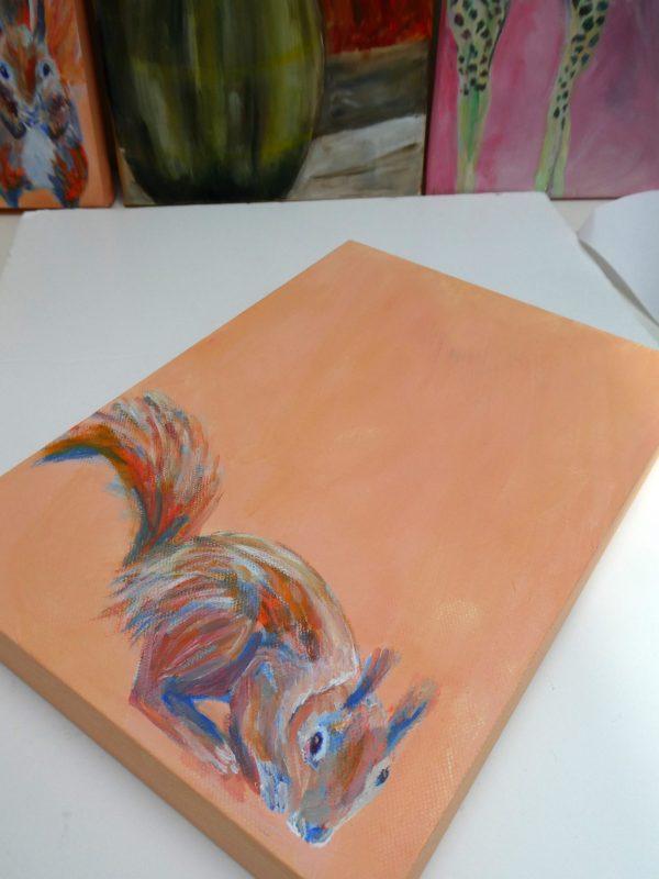 red squirrel art, orange wildlife painting, British wildlife