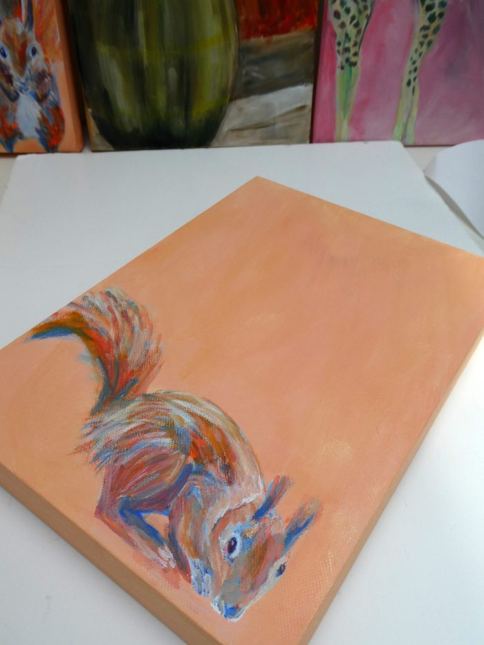 red squirrel art, orange wildlife painting, British wildlife