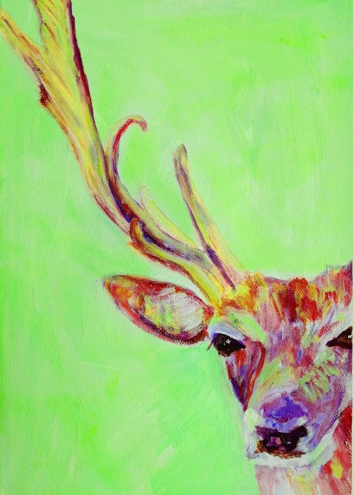 Stag painting, green and red wildlife art, modern British Wildlife wall decor