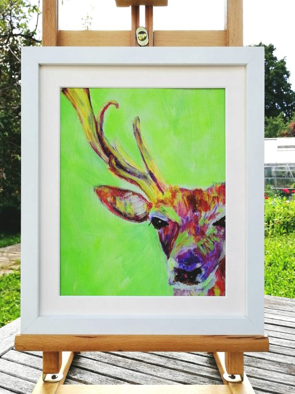 red stag art print with modern green background