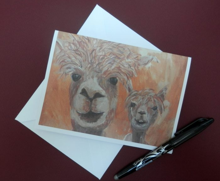 Golden yellow llama card, blank farm animal card , happy couple, engagement card, wedding card