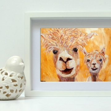 golden yellow alpaca wall art
