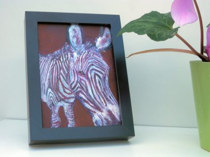 small zebra painting, purple wildlife art, acrylic canvas art, zebra home decor