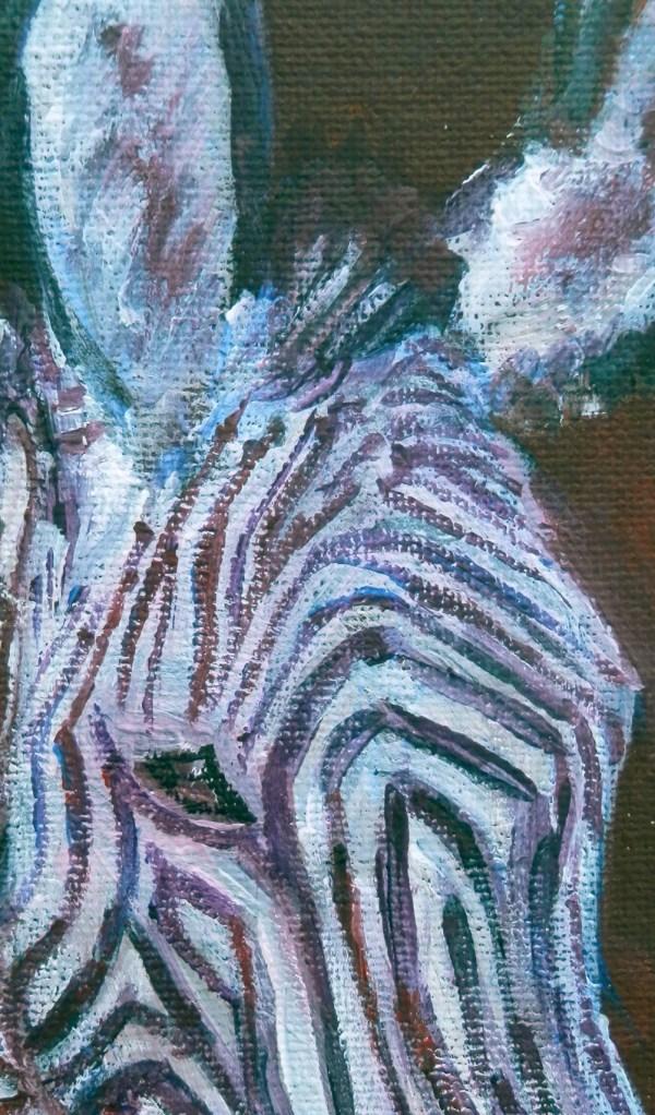 small zebra painting, purple stripes, framed zebra art