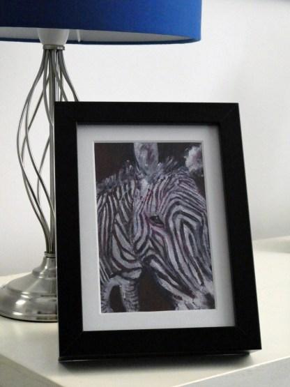 small zebra painting, purple acrylic wildlife art, framed zebra canvas