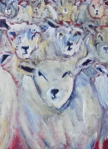 flock of sheep art, black sheep print, counting sheep