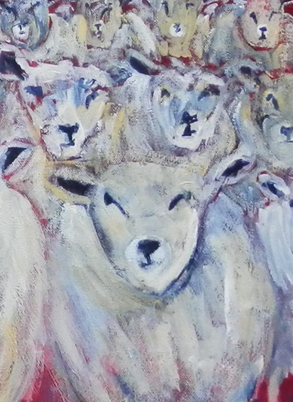 flock of sheep art, black sheep print, counting sheep
