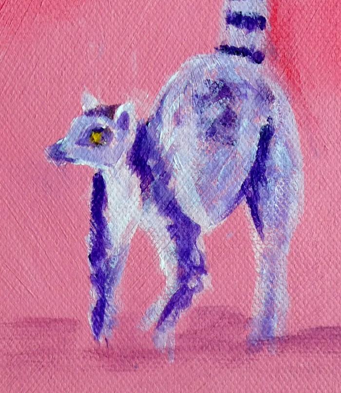lemur artwork, cute lemur print, ring-tailed lemur art print, pink animal wall decor, animal gift for her