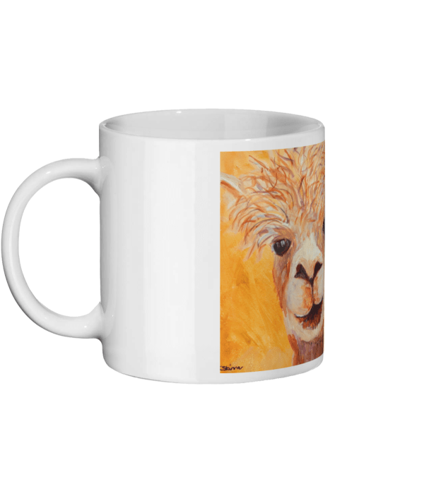 Llama mug, orange mug, golden yellow alpaca mug, farm animal lover gift, tea drinker gift, animal lover mug