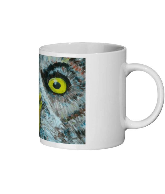 Great Grey Owl ceramic mug, glossy white mug, wild bird mug, yellow eyes, coffee mug, tea mug, hot drinks mug, bird lover gift