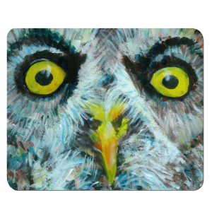 Great Grey Owl placemat, owl gift, owl table mat, yellow eyes, sharp beak, wild bird, bird of prey giftd
