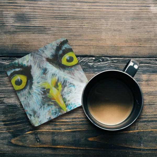 Grey owl with yellow eyes hardboard coaster
