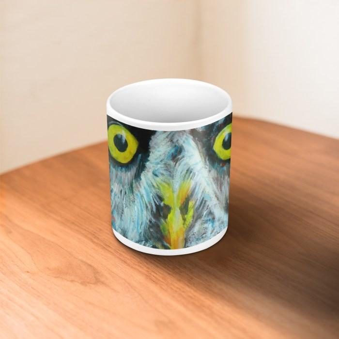 Great Grey Owl with big yellow eyes on a white 11 oz ceramic mug