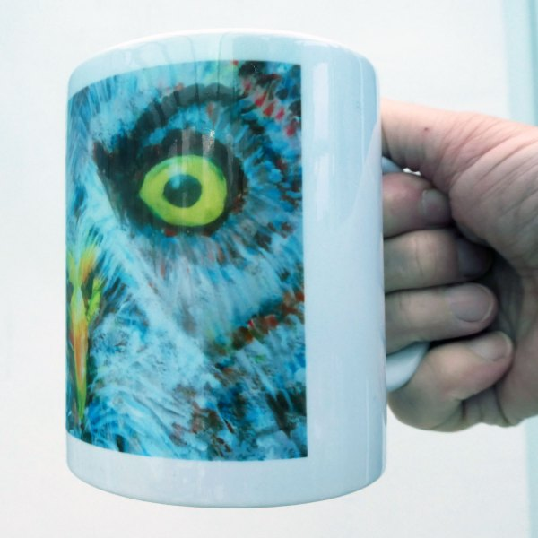 Great grey owl, owl cup, grey and yellow kitchenware