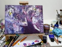 purple elephant, work in progress, artist at work, studio photo