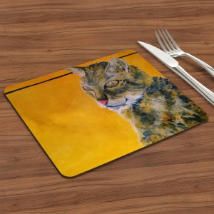 Golden yellow tabby cat placemat