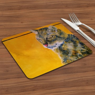 Golden yellow tabby cat placemat