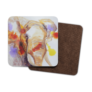 Single wildlife coaster, elephant coaster, abstract background, coffee drink gift, teatime drinks mat