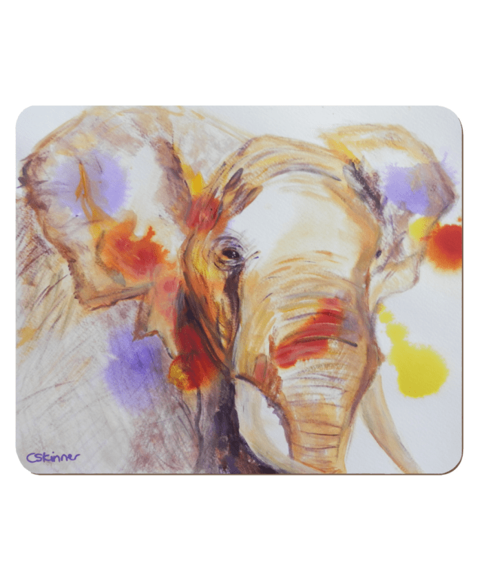 African elephant hardboard placemat, elephant table setting, elephant table mat, colourful wildlife placemat