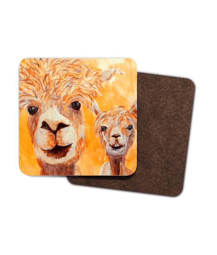 single orange alpaca hardboard coaster, llama coaster, deep golden yellow drinks mat, llama lover gift