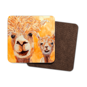 single orange alpaca hardboard coaster, llama coaster, deep golden yellow drinks mat, llama lover gift