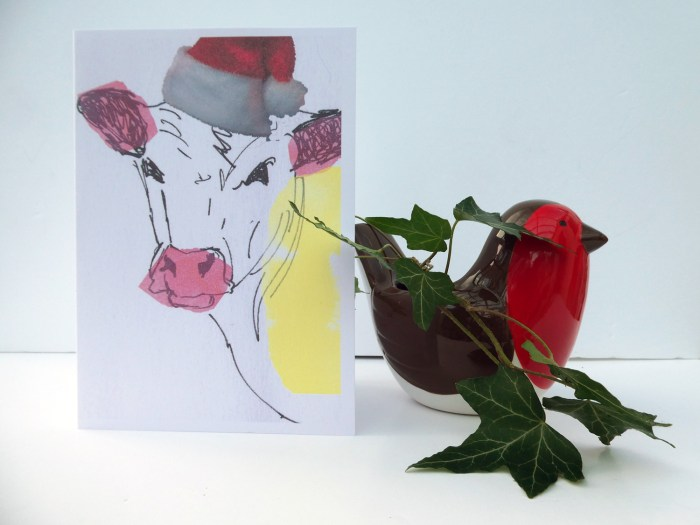 Christmas card showing a cow, funny cow Christmas card, blank cow Xmas card