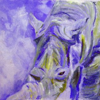blue rhino print, blue rhino artwork, blue and green wildlife art