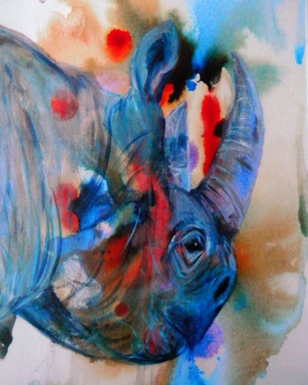 Disappearing rhino, blue and red abstract art, abstract wildlife wall decor, rhino artwork