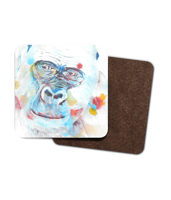 Blue gorilla coasters, set of 4 wildlife drinks mats, abstract African wildlife coasters