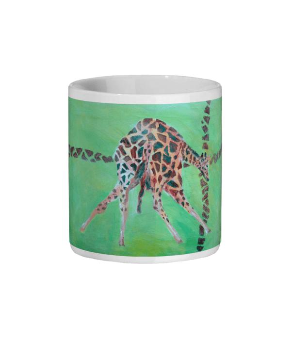 Green and red giraffe mug, coffee mug for animal lovers, wildlife homeware