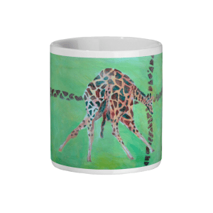 Green and red giraffe mug, coffee mug for animal lovers, wildlife homeware