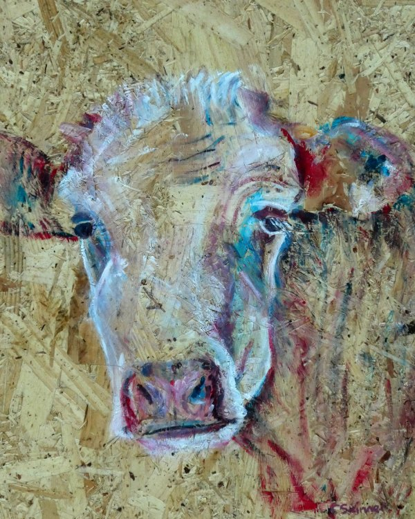 cow print, colourful farmyard art, textured farm animal decor, rustic barn art, modern cow print