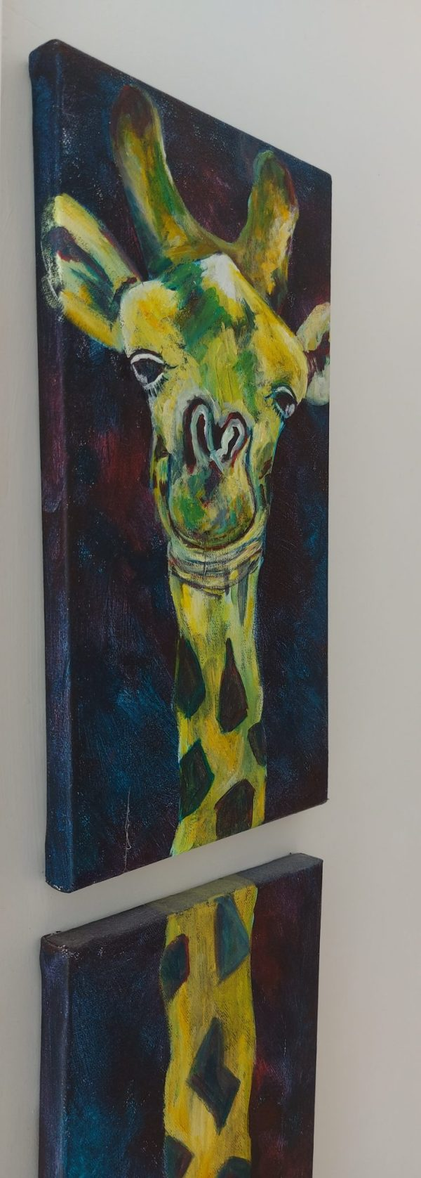 Cute giraffe painting in acrylic on two canvasses, with very long neck