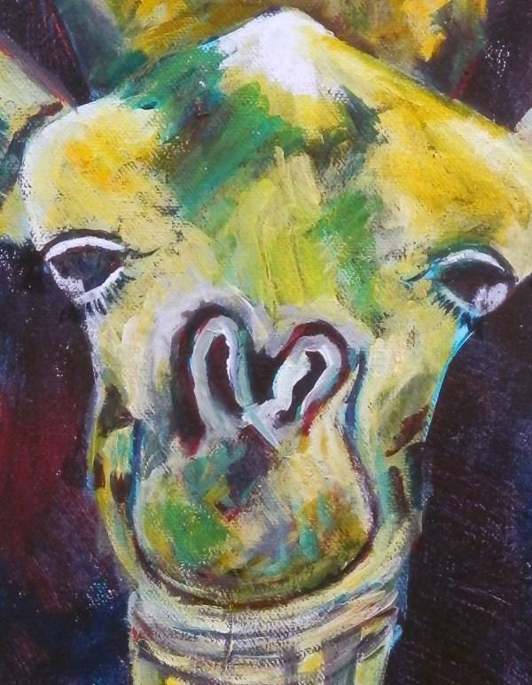 Cute giraffe art, whimsical giraffe wall art, wildlife diptych