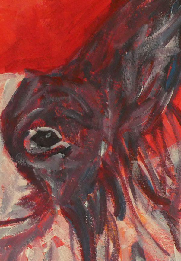Papillon dog art gift, canine lover home decor, red living room decor
