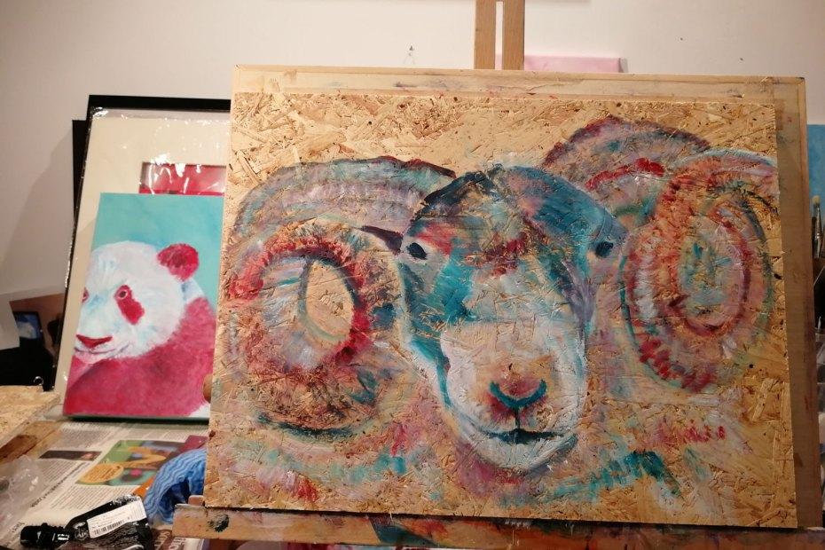Sheep painting in progress, panda painting in progress. Caroline Skinner Art